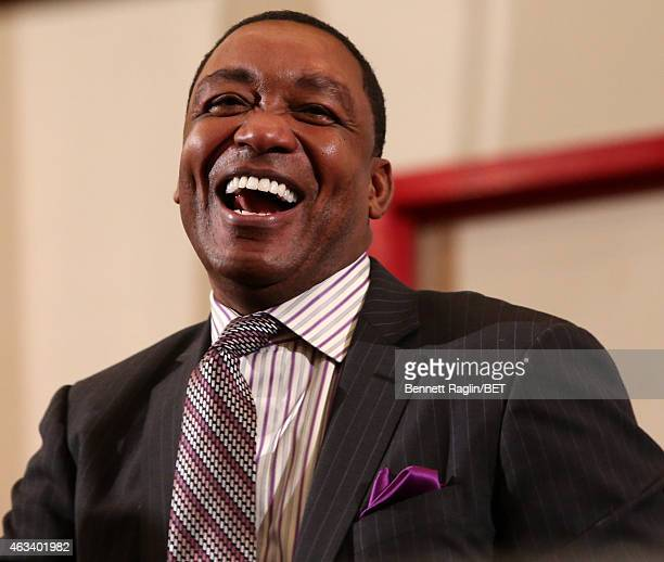 Former NBA player Isiah Thomas attends NBAPA AllStar Youth Summit Real Talk on February 13 2015 in New York City