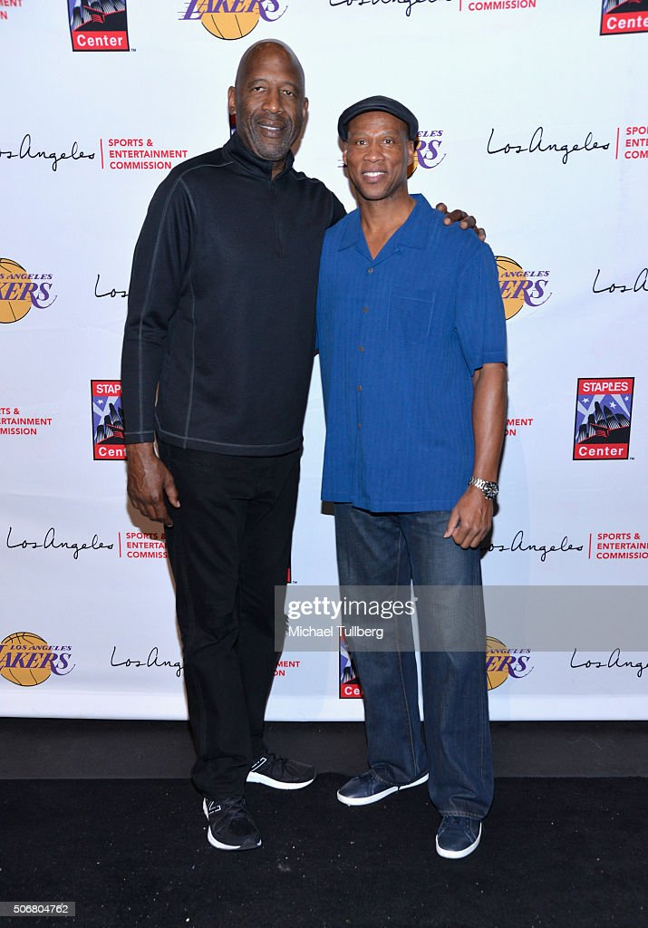 Former NBA player <a gi-track='captionPersonalityLinkClicked' href=/galleries/search?phrase=James+Worthy&family=editorial&specificpeople=212863 ng-click='$event.stopPropagation()'>James Worthy</a> and Los Angeles Lakers head coach <a gi-track='captionPersonalityLinkClicked' href=/galleries/search?phrase=Byron+Scott+-+Treinador+de+basquetebol&family=editorial&specificpeople=209087 ng-click='$event.stopPropagation()'>Byron Scott</a> attend the 12th Annual Lakers All-Access Event at Staples Center on January 25, 2016 in Los Angeles, California.