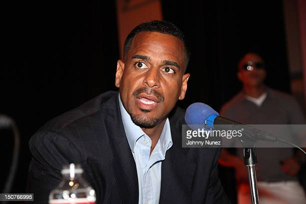 Former NBA player Jayson Williams speaks at the Hot 97 Street Soldiers Push 4 Peace show at Wadleigh High School for the Performing Arts In Harlem on...