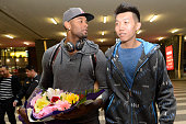 Former NBA player Jeremy Tyler arrives at Taiyuan Wu Xu International Airport for his 201415 season for Shanxi Zhongyu of the Chinese Basketball...