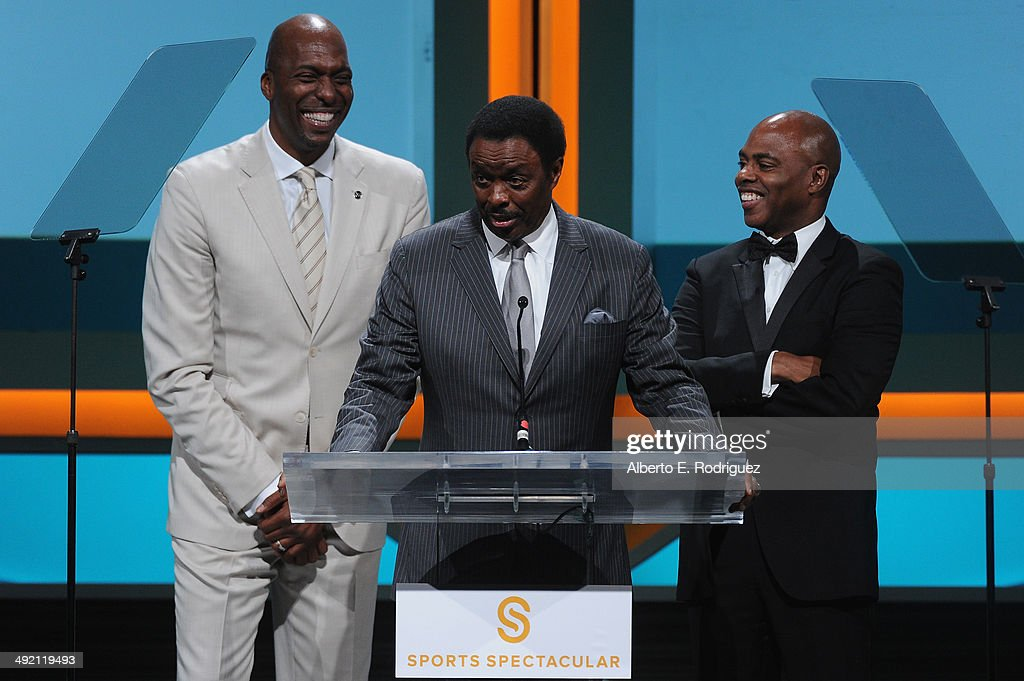 Former NBA player John Salley TV personalities Jim Hill and Kevin Frazier on stage at the 2014 Sports Spectacular Gala at the Hyatt Regency Century...