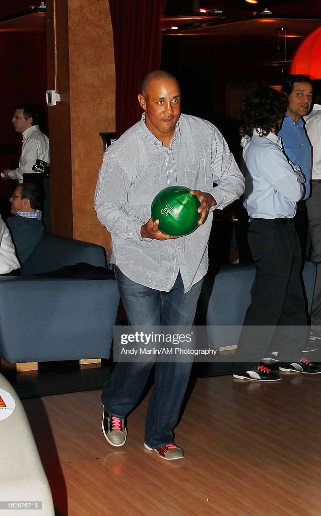 Former NBA player John Starks bowls during the John Starks Foundation Celebrity Bowling Tournament on February 25, 2013 in New York City.