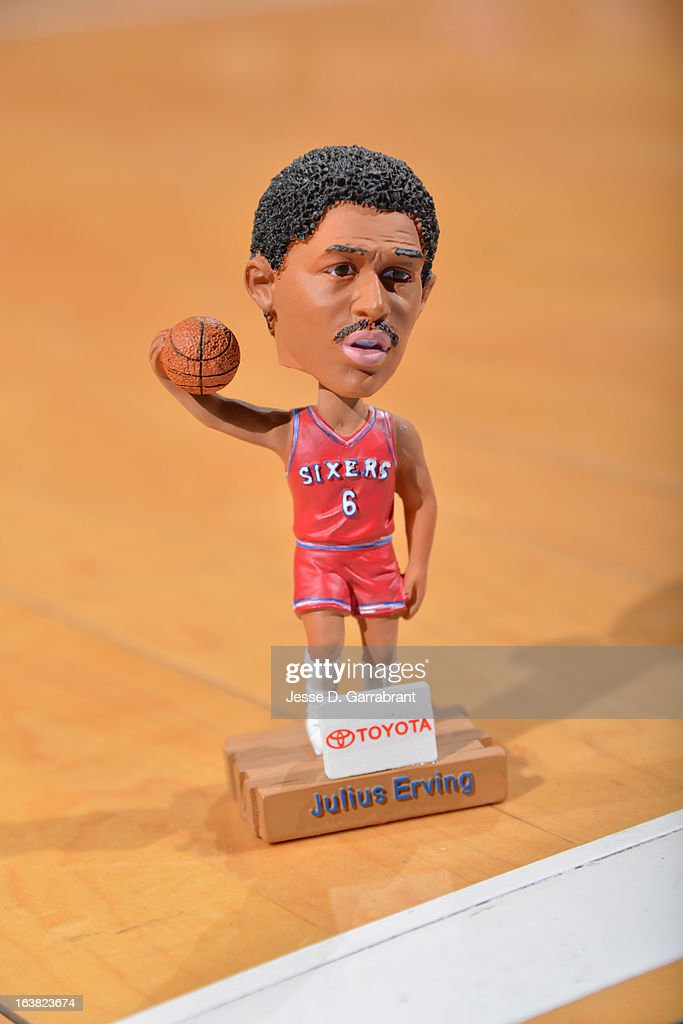 Former NBA player, Julius 'Dr. J' Erving bobblehead is given out before the game between the Indiana Pacers and the Philadelphia 76ers at the Wells Fargo Center on March 16, 2013 in Philadelphia, Pennsylvania.