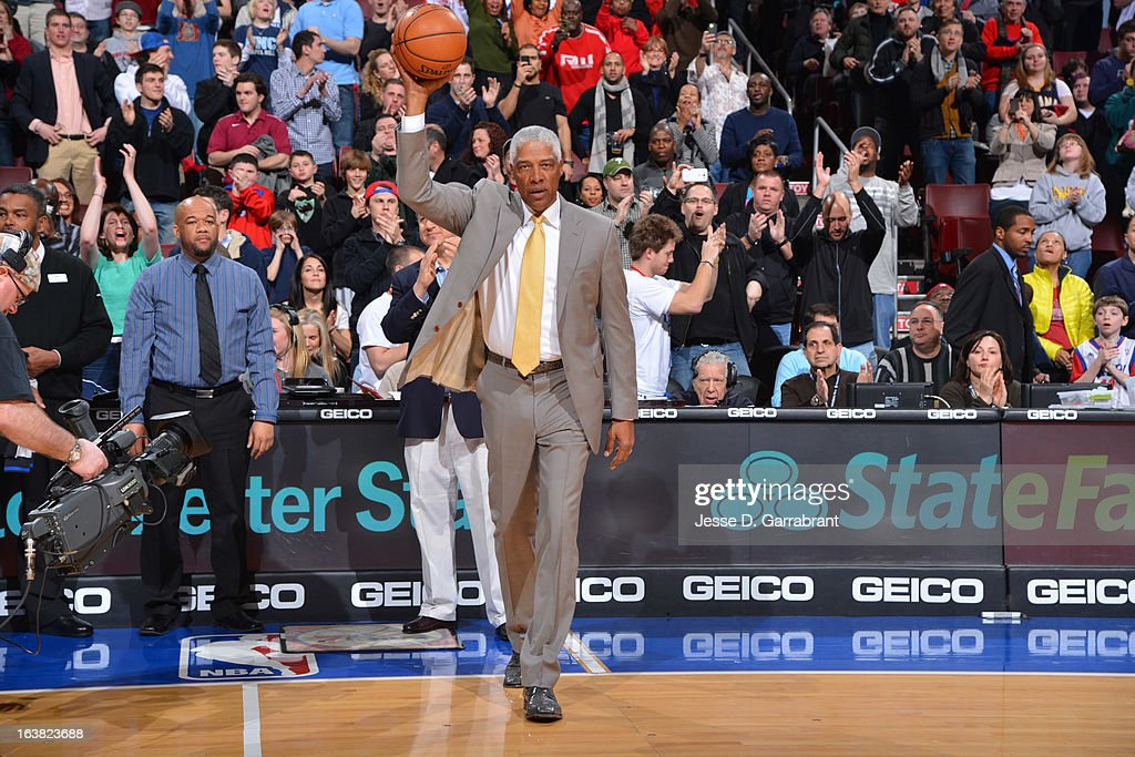 Former NBA Player, Julius 'Dr. J' Erving, enters the court before the game between the Indiana Pacers and the Philadelphia 76ers at the Wells Fargo Center on March 16, 2013 in Philadelphia, Pennsylvania.