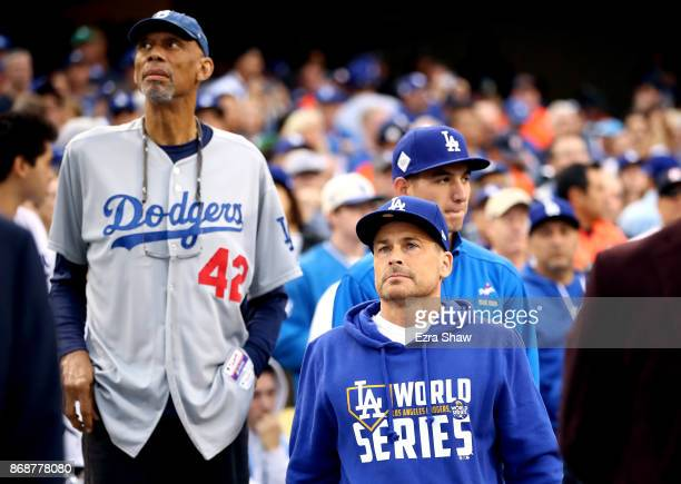 Former NBA player Kareem AbdulJabbar and actor Rob Lowe look on before game six of the 2017 World Series between the Houston Astros and the Los...