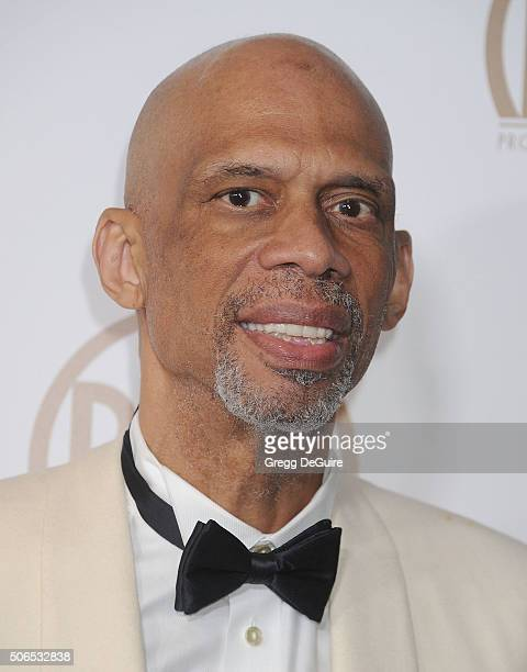 Former NBA player Kareem AbdulJabbar arrives at the 27th Annual Producers Guild Awards at the Hyatt Regency Century Plaza on January 23 2016 in...