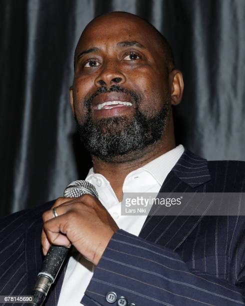 Former NBA Player Kenny Anderson addresses the audience during the MR CHIBBS Opening Night screening at the IFC Center on May 3 2017 in New York City