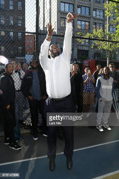 Former NBA player Kenny Anderson plays basketball during the MR CHIBBS Opening Night screening at the West Fourth Street Courts on May 3 2017 in New...