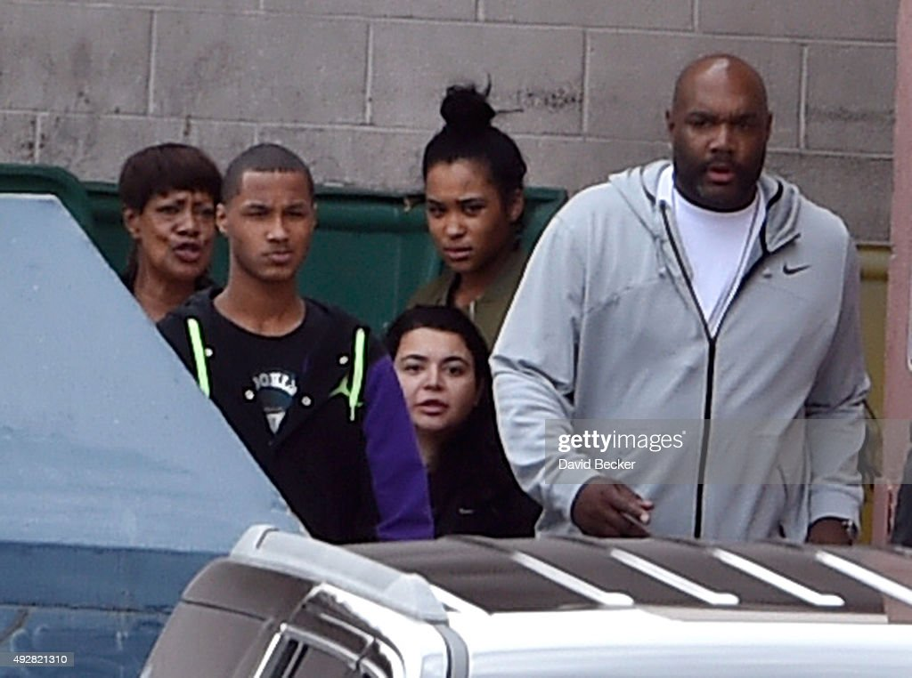 Former NBA player Lamar Odom's aunt JaNean Mercer son Lamar Odom Jr and daughter Destiny Odom exit through a back door to waiting vehicles after...