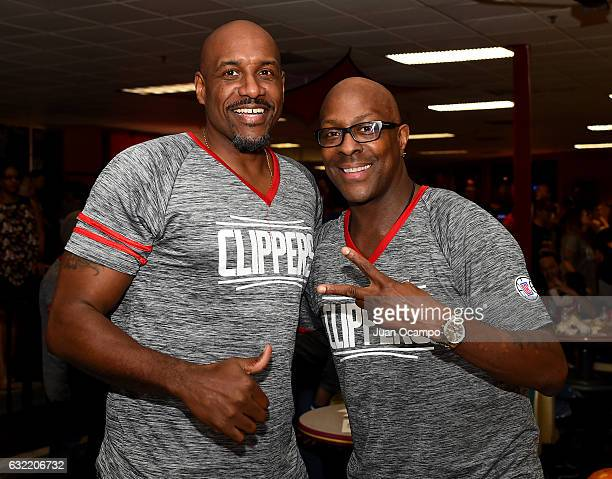 Former NBA player Lamond Murray and Gary Grant pose for a photo during the LA Clippers Foundation Hosts Annual Charity Basketbowl Challenge Presented...