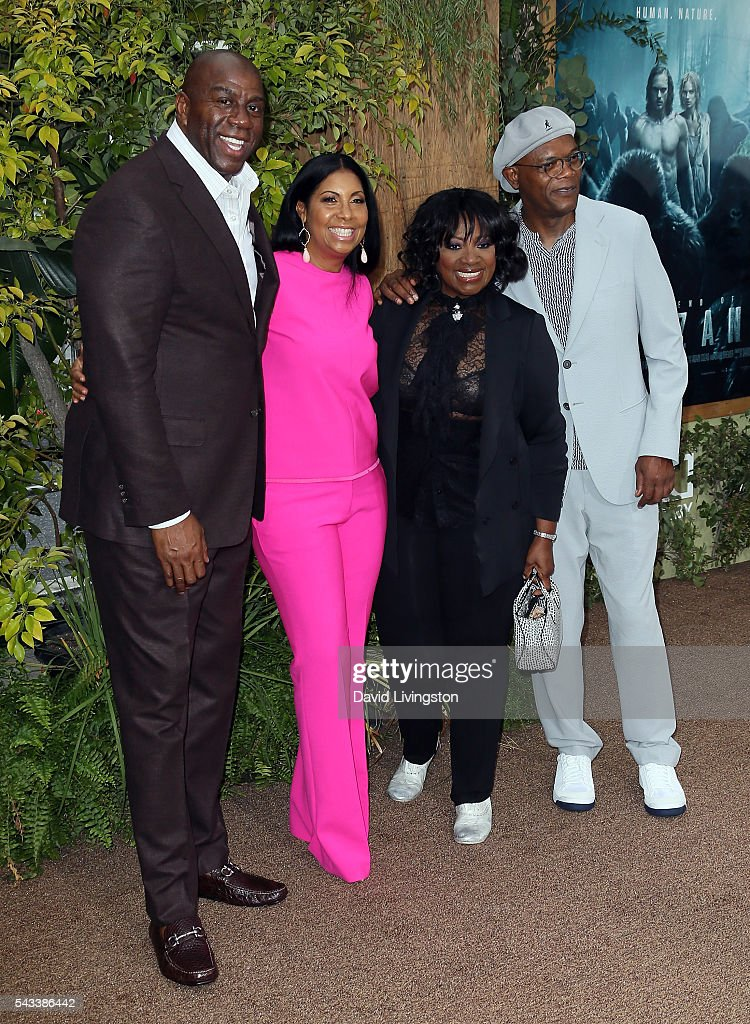 Former NBA player <a gi-track='captionPersonalityLinkClicked' href=/galleries/search?phrase=Magic+Johnson&family=editorial&specificpeople=157511 ng-click='$event.stopPropagation()'>Magic Johnson</a>, wife Earlitha Kelly, actress <a gi-track='captionPersonalityLinkClicked' href=/galleries/search?phrase=LaTanya+Richardson&family=editorial&specificpeople=234411 ng-click='$event.stopPropagation()'>LaTanya Richardson</a> Jackson and husband actor <a gi-track='captionPersonalityLinkClicked' href=/galleries/search?phrase=Samuel+L.+Jackson&family=editorial&specificpeople=167234 ng-click='$event.stopPropagation()'>Samuel L. Jackson</a> attend the premiere of Warner Bros. Pictures' 'The Legend of Tarzan' at the Dolby Theatre on June 27, 2016 in Hollywood, California.