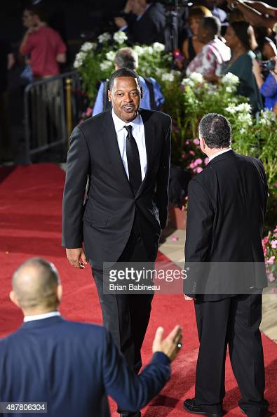 Former NBA player Marcus Camby arrives prior to the 2015 Basketball Hall of Fame Enshrinement Ceremony on September 11 2015 at the Naismith...