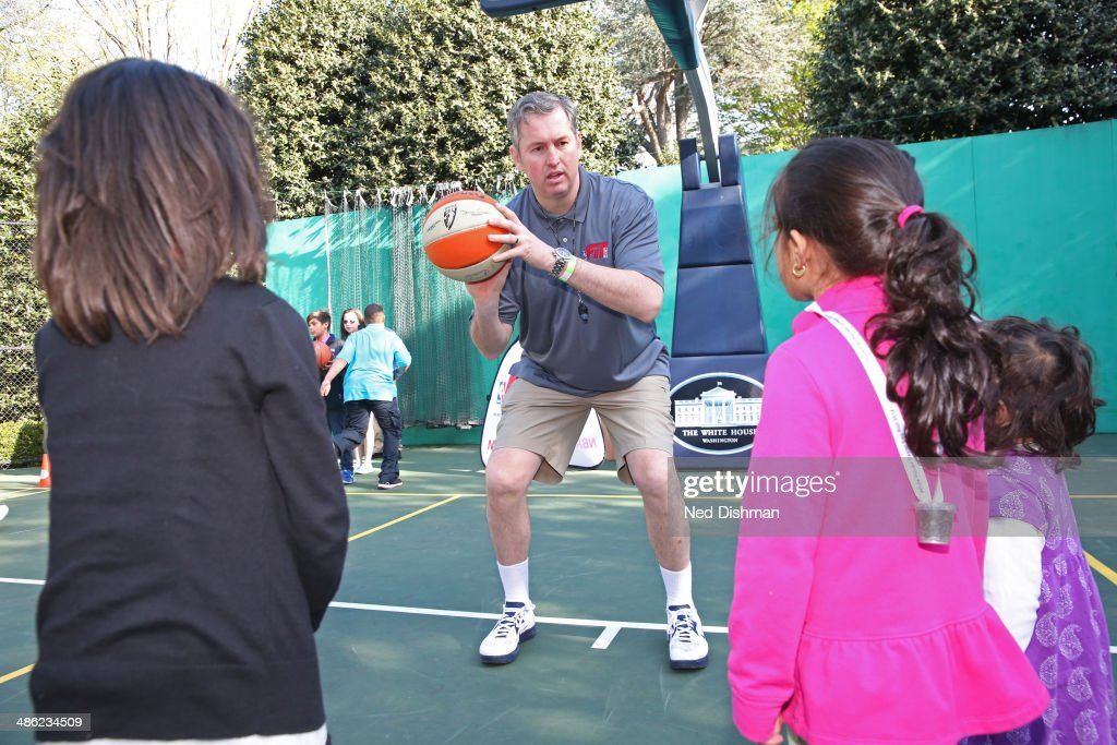 Former NBA Player, Marty Conlon coaches during an NBA Fit Clinic at the 2014 White House Easter Egg Roll on April 21, 2014 in Washington, DC.
