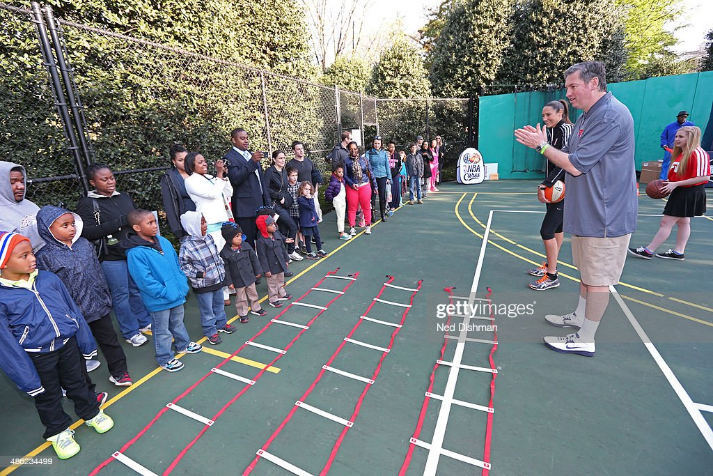 Former NBA Player, Marty Conlon speaks during an NBA Fit Clinic at the 2014 White House Easter Egg Roll on April 21, 2014 in Washington, DC.