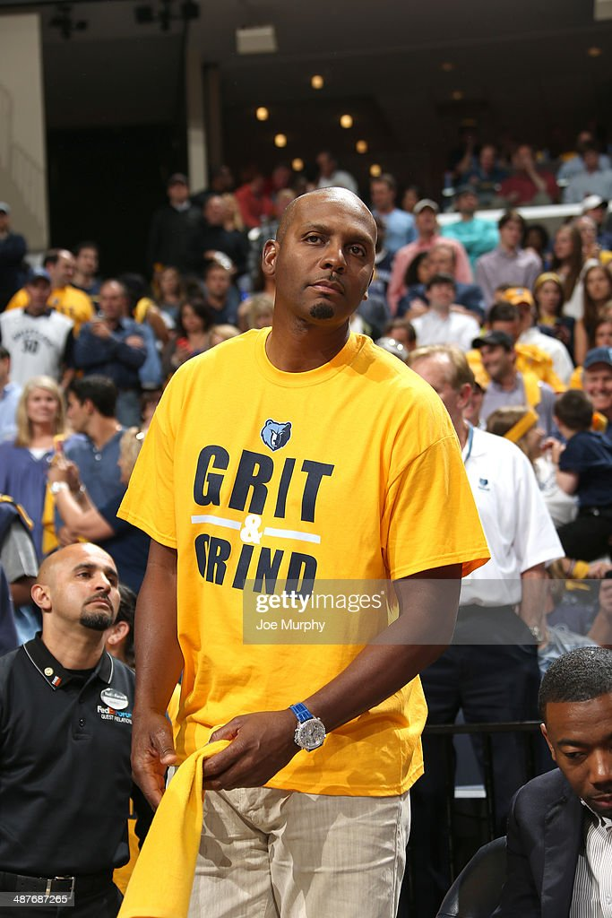 Former NBA Player Penny Hardaway cheers for the Memphis Grizzlies against the Oklahoma City Thunder in Game Six of the Western Conference Quarterfinals during the 2014 NBA Playoffs on MAY 3, 2014 at FedExForum in Memphis, Tennessee.