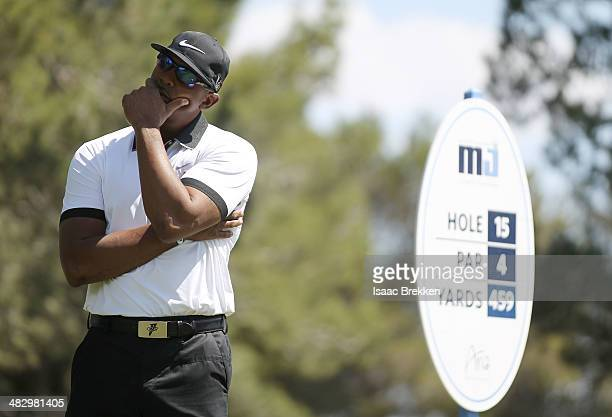 Former NBA player Penny Hardaway prepares to hit a tee shot during Aria Resort Casino's 13th Annual Michael Jordan Celebrity Invitational at Shadow...