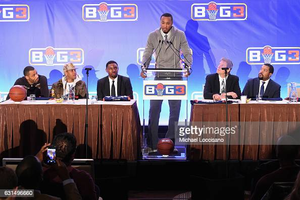 Former NBA player Rashard Lewis speaks during a press conference announcing the launch of the BIG3 a new professional 3on3 basketball league on...