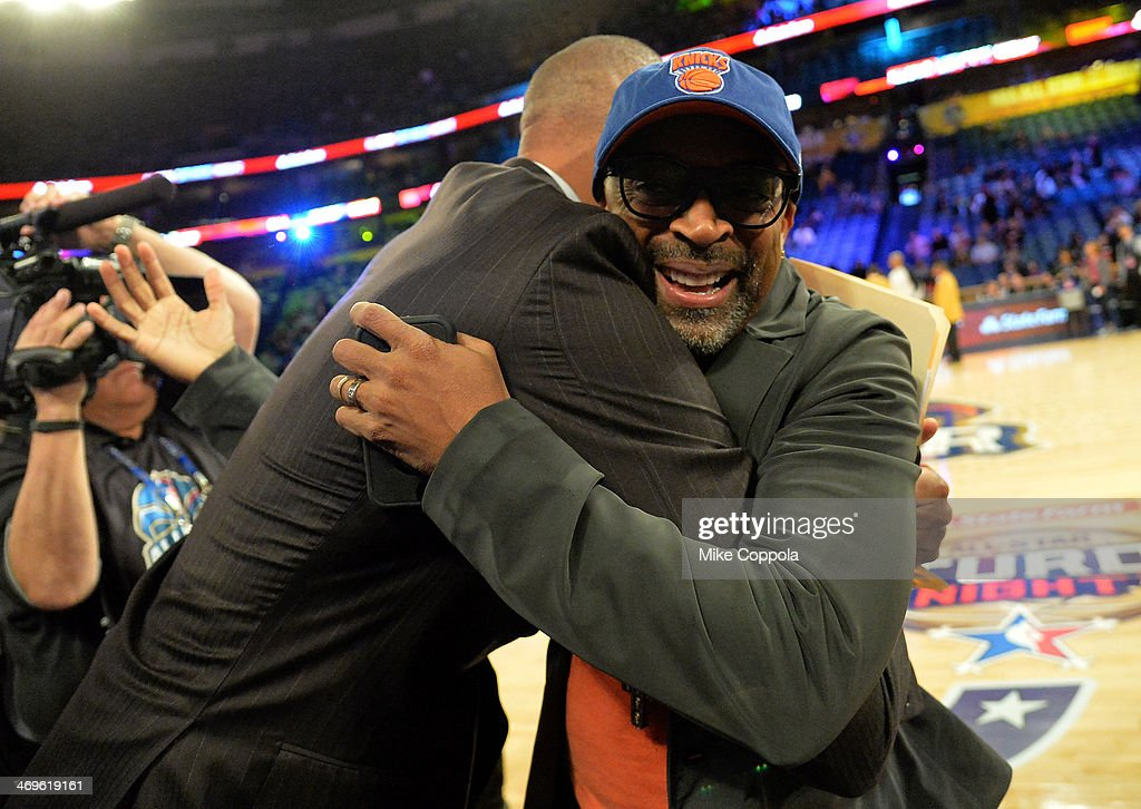 Former NBA Player Reggie Miller and Director Spike Lee attend the State Farm AllStar Saturday Night during the NBA AllStar Weekend 2014 at The...
