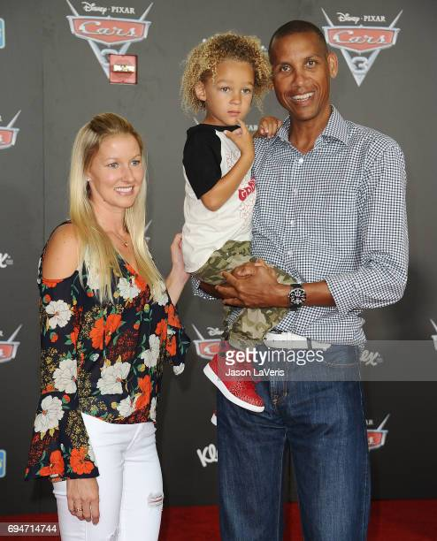 Former NBA player Reggie Miller and son Ryker Miller attend the premiere of 'Cars 3' at Anaheim Convention Center on June 10 2017 in Anaheim...