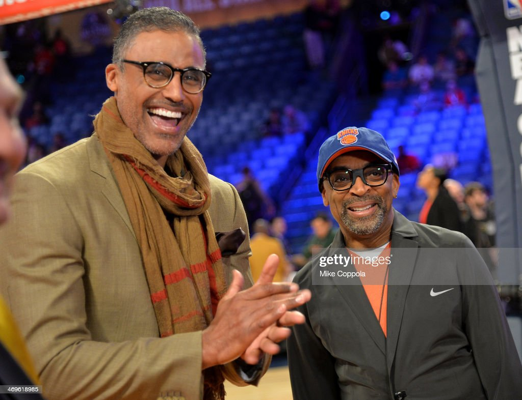 Former NBA Player Rick Fox and Director Spike Lee attend the State Farm AllStar Saturday Night during the NBA AllStar Weekend 2014 at The Smoothie...