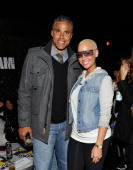 Former NBA player Rick Fox and Model Amber Rose attend the NBA AllStar block party kickoff at Sportie LA at Sportie LA on February 17 2011 in Los...