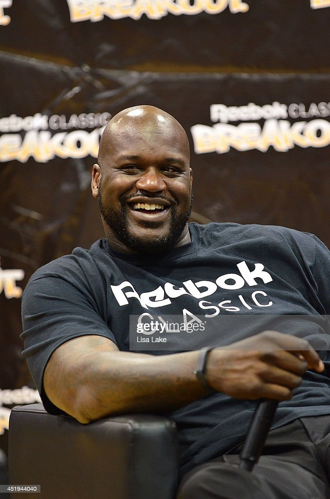 Former NBA player Shaquille O' Neal at the Reebok Classic Breakout Classic Rap Roundtable at Philadelphia University on July 9 2014 in Philadelphia...
