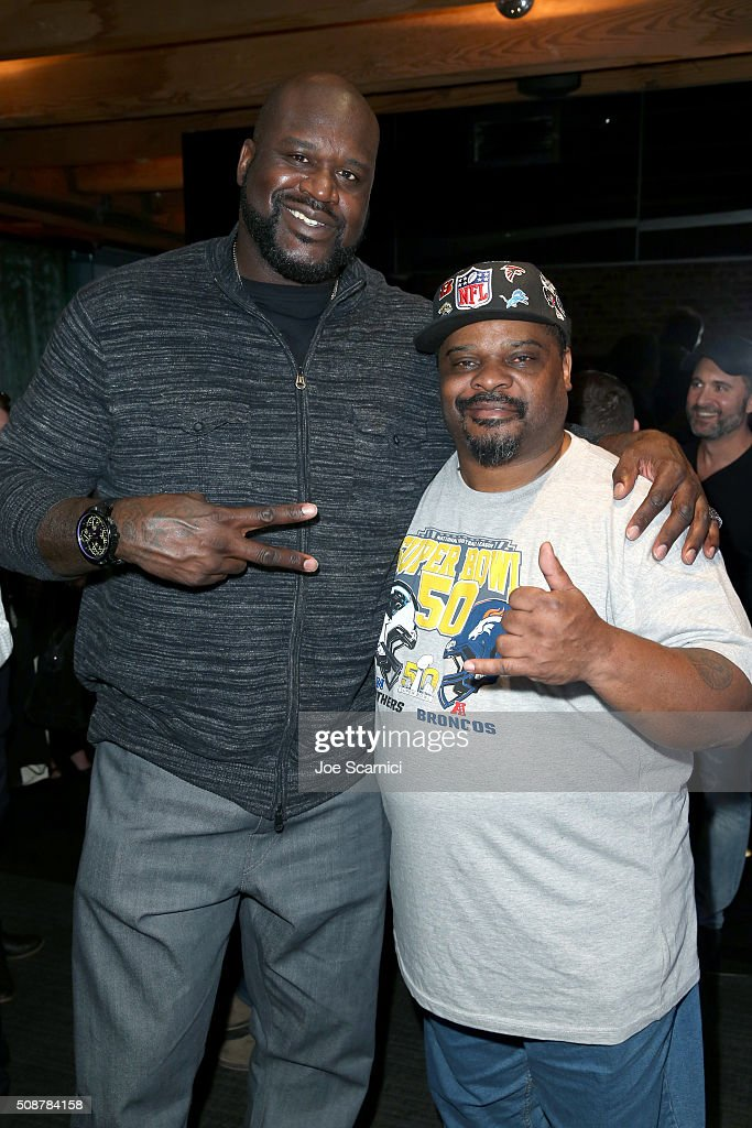 Former NBA player <a gi-track='captionPersonalityLinkClicked' href=/galleries/search?phrase=Shaquille+O%27Neal&family=editorial&specificpeople=201463 ng-click='$event.stopPropagation()'>Shaquille O'Neal</a> and former NFL player Ickey Woods attend the Fanatics Super Bowl Party on February 6, 2016 in San Francisco, California.
