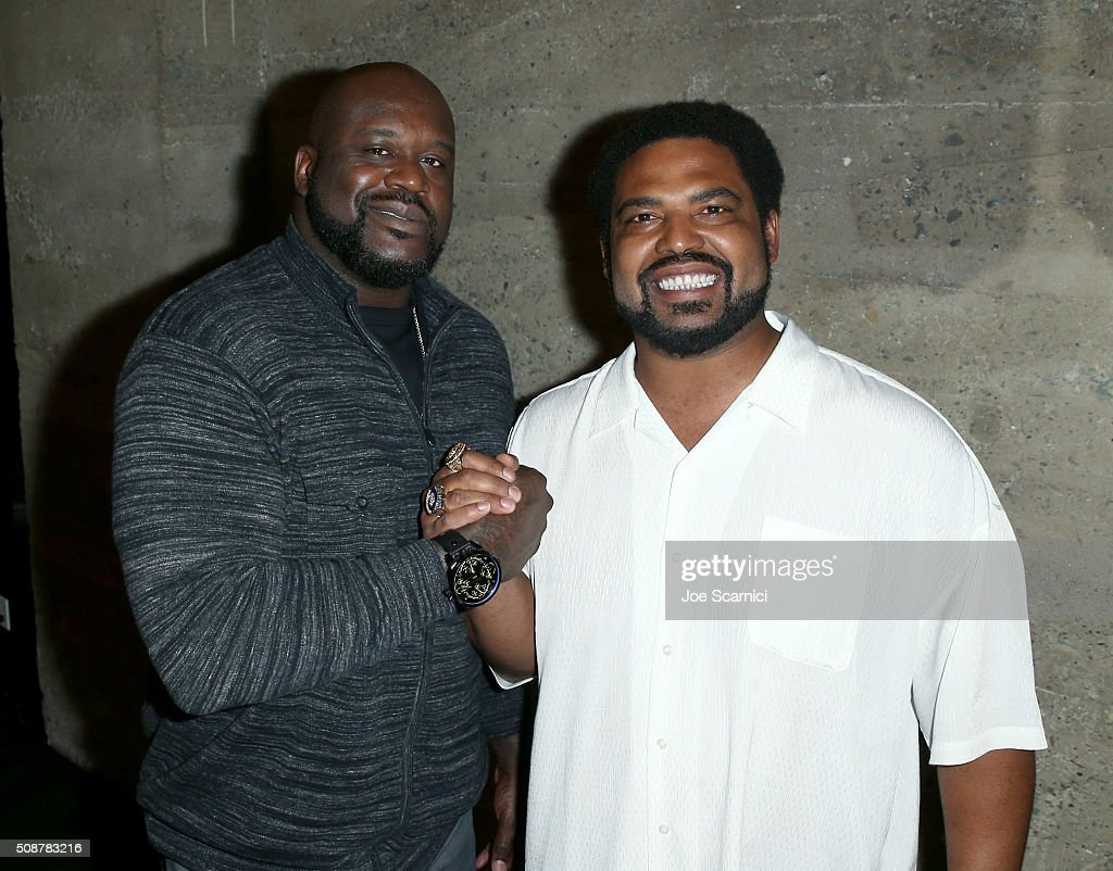 Former NBA player <a gi-track='captionPersonalityLinkClicked' href=/galleries/search?phrase=Shaquille+O%27Neal&family=editorial&specificpeople=201463 ng-click='$event.stopPropagation()'>Shaquille O'Neal</a> and former NFL player <a gi-track='captionPersonalityLinkClicked' href=/galleries/search?phrase=Jonathan+Ogden&family=editorial&specificpeople=216522 ng-click='$event.stopPropagation()'>Jonathan Ogden</a> attend the Fanatics Super Bowl Party on February 6, 2016 in San Francisco, California.