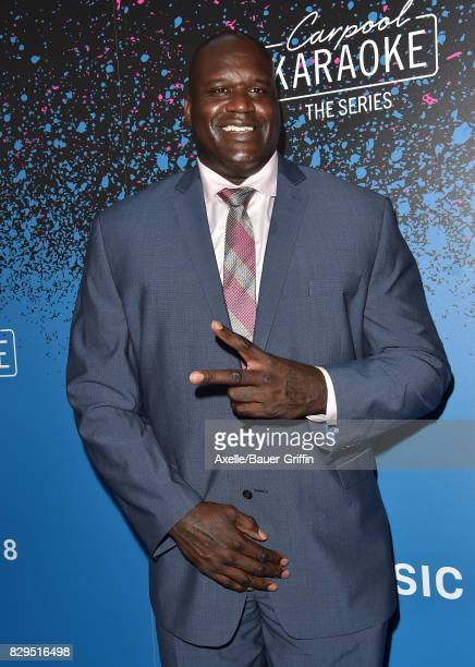 Former NBA player Shaquille O'Neal arrives at 'Carpool Karaoke The Series' On Apple Music Launch Party at Chateau Marmont on August 7 2017 in Los...
