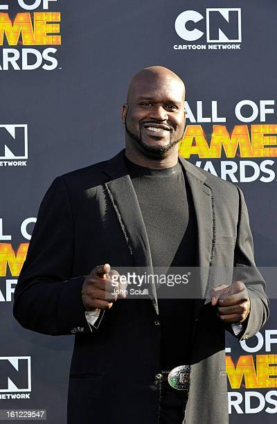 Former NBA player Shaquille O'Neal attends the Third Annual Hall of Game Awards hosted by Cartoon Network at Barker Hangar on February 9 2013 in...