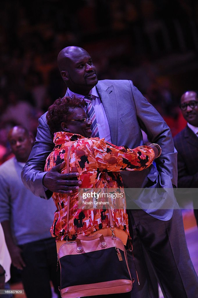 Former NBA player Shaquille O'Neal looks on during his jersey retirement ceremony at Staples Center on April 2, 2013 in Los Angeles, California.