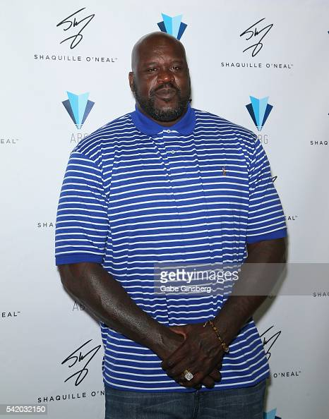 Former NBA player Shaquille O'Neal poses in the Authentic Brands Group booth during the Licensing Expo 2016 at the Mandalay Bay Convention Center on...