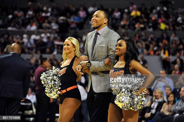 Former NBA player Shawn Marion is introduced during the San Antonio Spurs game against the Phoenix Suns as part of NBA Global Games at Arena Ciudad...