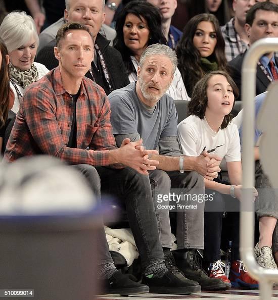 Former NBA Player Steve Nash Emmyaward winning television host and comedian Jon Stewart and son Nathan attend the 2016 NBA AllStar Saturday Night at...