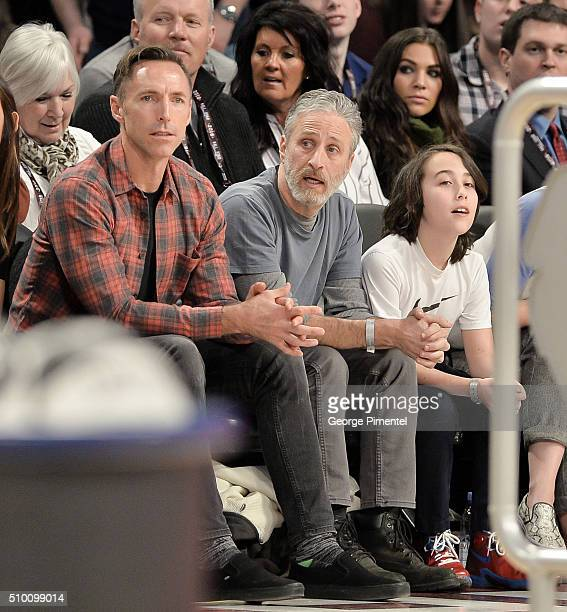 Former NBA Player Steve Nash Emmyaward winning television host and comedian Jon Stewart and son Nathan attend the 2016 NBA AllStar Saturday Night at...