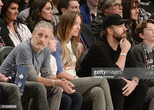 Former NBA Player Steve Nash Emmyaward winning television host and comedian Jon Stewart and son Nathan actress Olivia Wilde and actor Jason Sudeikis...