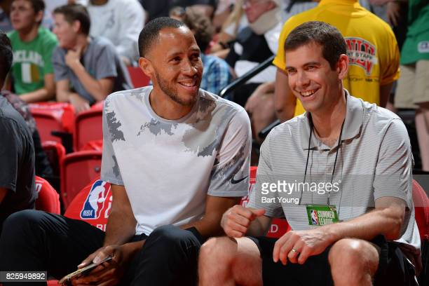 Former NBA player Tayshaun Prince and Brad Stevens of the Boston Celtics attend the 2017 NBA Las Vegas Summer League game between the Utah Jazz and...