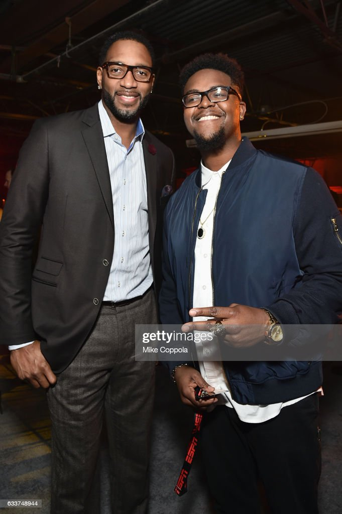 Former NBA player Tracy McGrady (L) attends the 13th Annual ESPN The Party on February 3, 2017 in Houston, Texas.