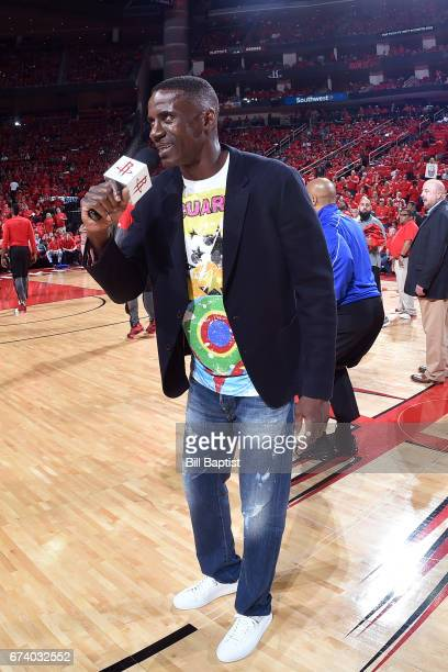 Former NBA player Vernon Maxwell speaks to the fans before Game Five of the Western Conference Quarterfinals between the Oklahoma City Thunder and...