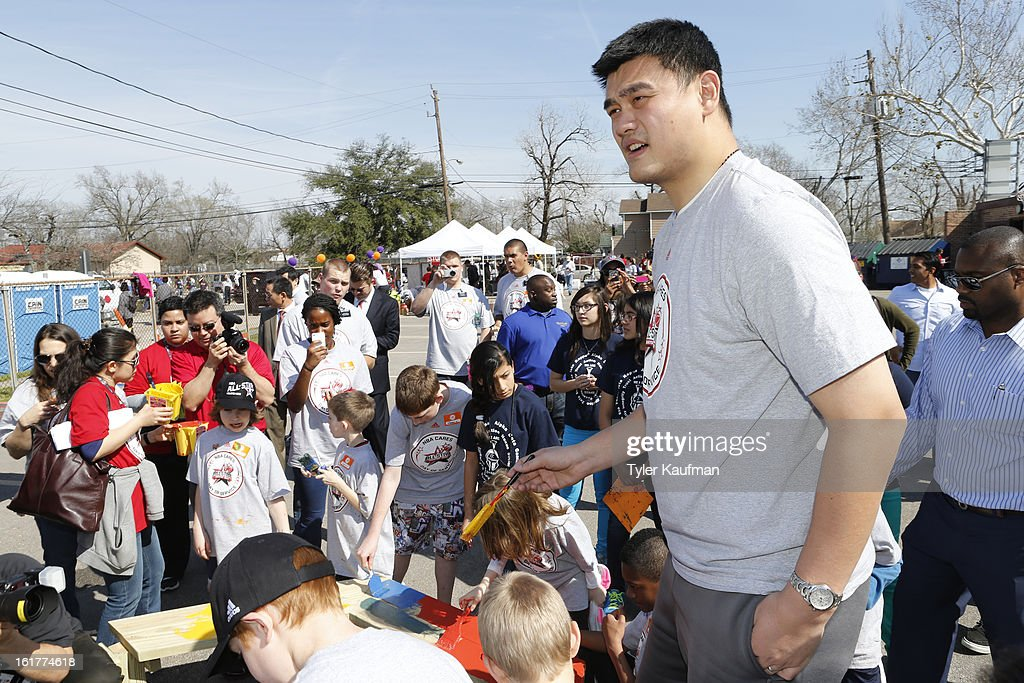 Former NBA player Yao Ming participates during the 2013 NBA Cares Day of Service at the Playground Build with KaBOOM! on February 15, 2013 in Houston, Texas.