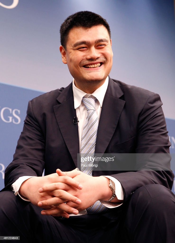 Former NBA player <a gi-track='captionPersonalityLinkClicked' href=/galleries/search?phrase=Yao+Ming&family=editorial&specificpeople=201476 ng-click='$event.stopPropagation()'>Yao Ming</a> participates in the 35 Years of U.S.-China Relations: Diplomacy, Culture and Soft Power panel discussion at the Brookings Institution on March 28, 2014 in Washington, DC.