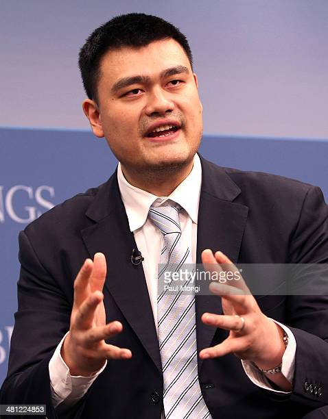 Former NBA player Yao Ming participates in the 35 Years of USChina Relations Diplomacy Culture and Soft Power panel discussion at the Brookings...