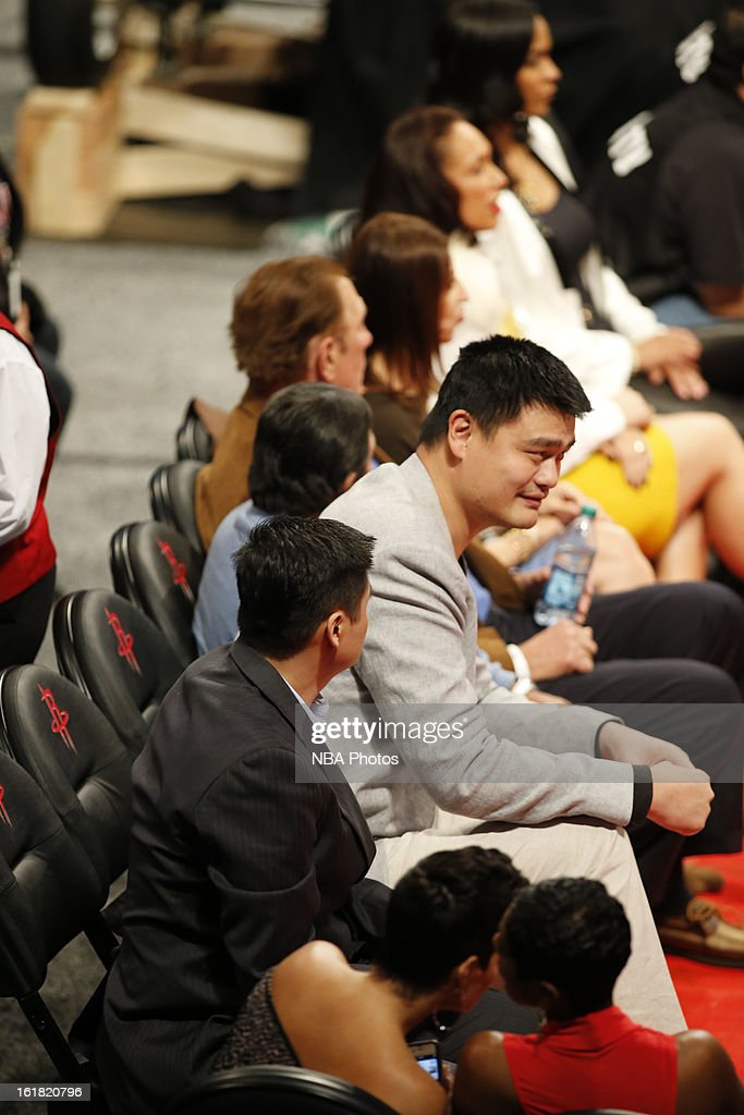 Former NBA player <a gi-track='captionPersonalityLinkClicked' href=/galleries/search?phrase=Yao+Ming&family=editorial&specificpeople=201476 ng-click='$event.stopPropagation()'>Yao Ming</a> sits courtside during the Sears Shooting Stars on State Farm All-Star Saturday Night during NBA All Star Weekend on February 16, 2013 at the Toyota Center in Houston, Texas.