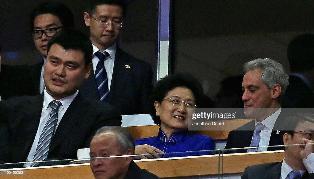 Former NBA player <a gi-track='captionPersonalityLinkClicked' href=/galleries/search?phrase=Yao+Ming&family=editorial&specificpeople=201476 ng-click='$event.stopPropagation()'>Yao Ming</a> sits with Madam Liu Yanoong, second ranking Vice Premier of the People's Republic of China and Chicago mayor Rahm Enanuel as the Chicago Bulls take on the Charlotte Bobcats at the United Center on November 18, 2013 in Chicago, Illinois. The Bulls defeated the Bobcats 86-81.