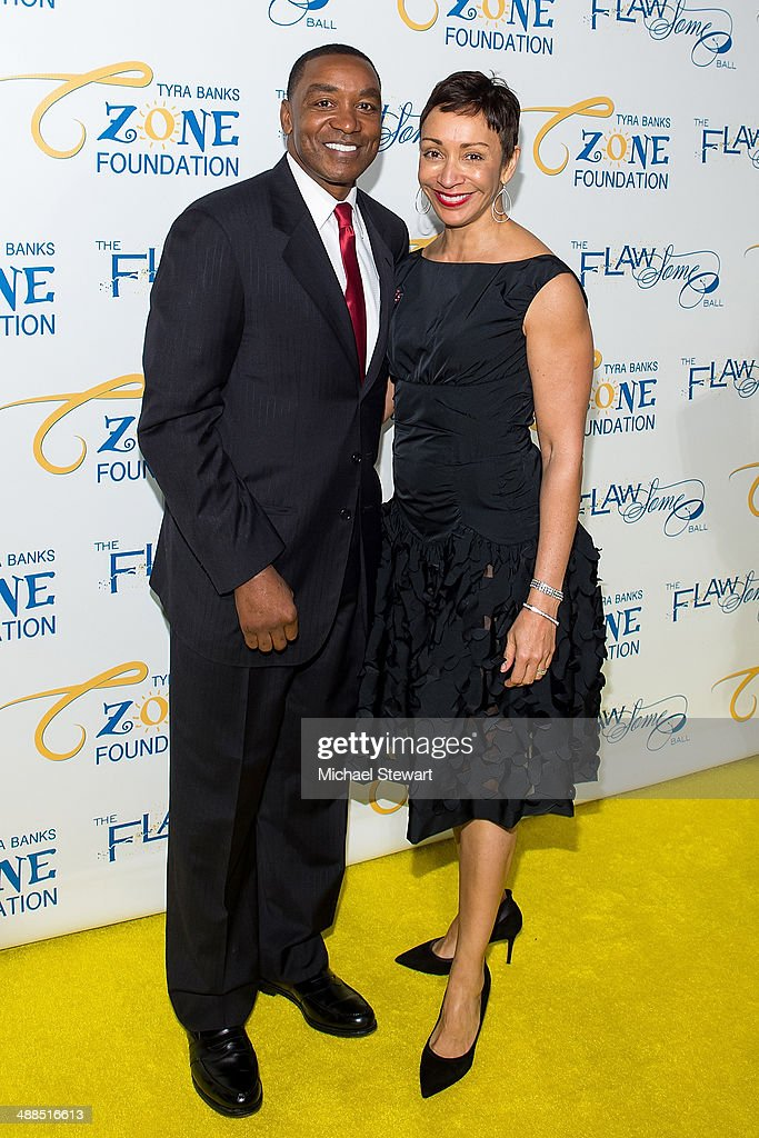 Former NBA player/coach Isiah Thomas (L) and Lynn Kendall attend Tyra Banks' Flawsome Ball 2014 at Cipriani Wall Street on May 6, 2014 in New York City.