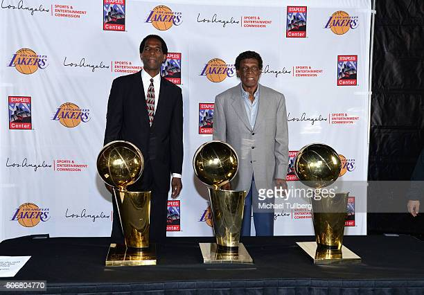 Former NBA players AC Green and Elgin Baylor attend the 12th Annual Lakers AllAccess Event at Staples Center on January 25 2016 in Los Angeles...