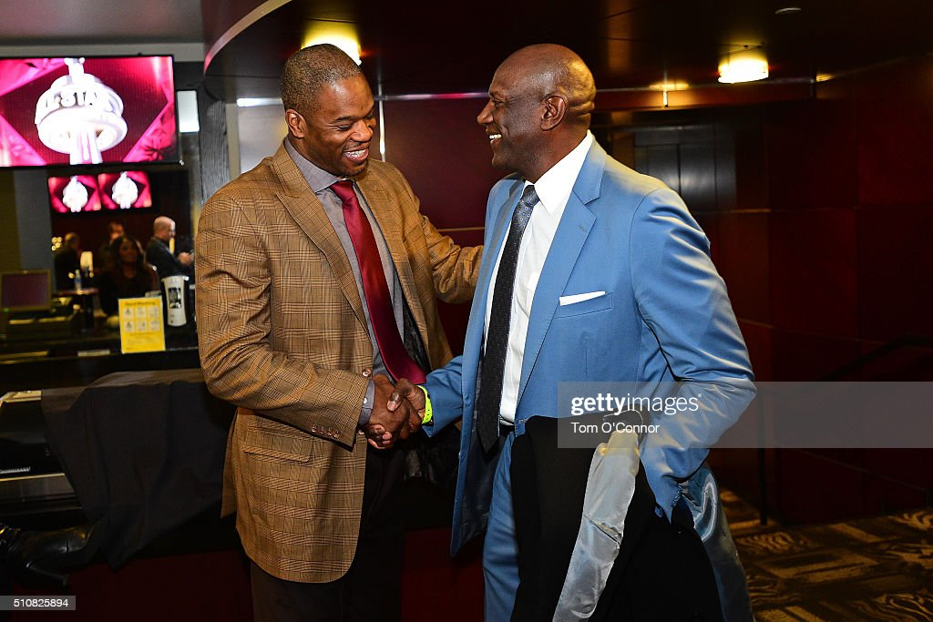 Former NBA players Antonio Davis and Spencer Haywood greet each other before the NBA AllStar Game as part of the 2016 NBA AllStar Weekend on February...