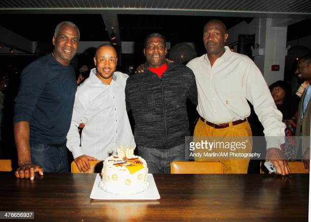 Former NBA players Charles Oakley John Starks Larry Johnson and Herb Williams pose for a photo celebrating Oakleys 50th birthday during the John...
