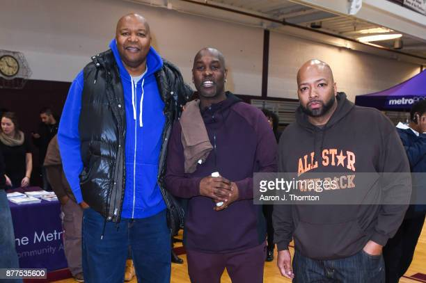 Former NBA players Derrick Coleman and Gary Payton along with AllStar Giveback Founder Tarence Wheeler attend the 2017 Annual AllStar Giveback...