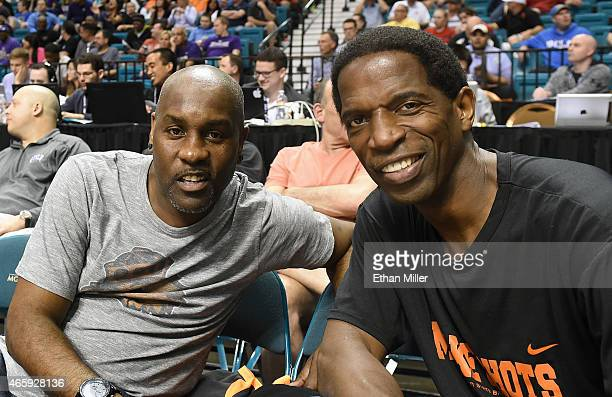Former NBA players Gary Payton and AC Green attend a firstround game of the Pac12 Basketball Tournament between the Colorado Buffaloes and the Oregon...